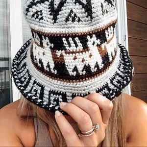 Vintage knit llama bucket hat unisex crochet boho